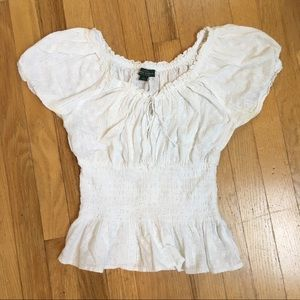 Ralph Lauren Peasant Top in White Lace